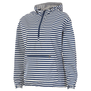 the navy blue and white striped anorak jacket for women has a navy blue zipper on the front chest and a navy blue zipper on the front pocket