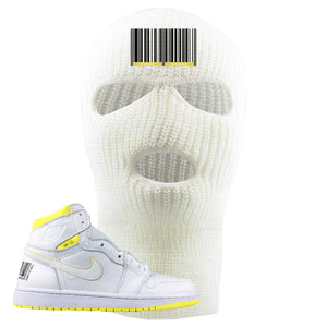 Air Jordan 1 First Class Flight First Class Barcode White Sneaker Matching Ski Mask