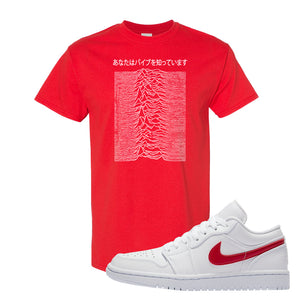 Air Jordan 1 Low White and Varsity Red T Shirt | Vibes Japan, Red