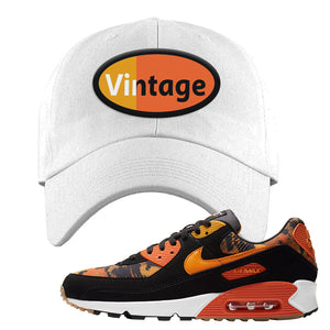 Air Max 90 Orange Camo Dad Hat | Vintage Oval, White