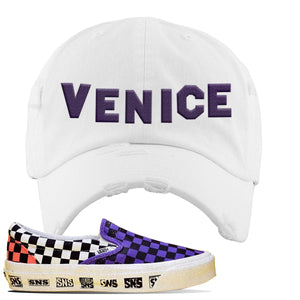 Vans Slip On Venice Beach Pack Distressed Dad Hat | White, Venice Sign