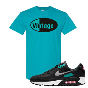 Air Max 90 Black New Green T Shirt | Vintage Oval, Tropical Blue