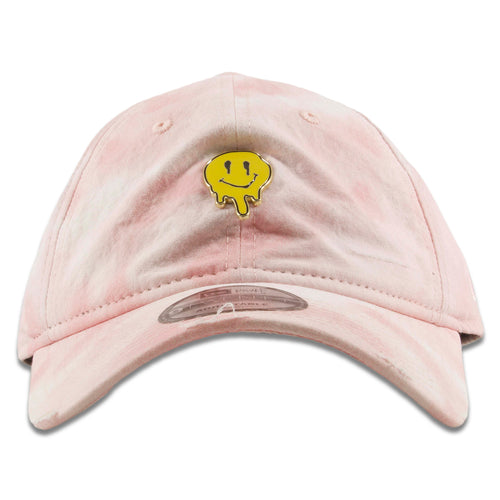 1990s Smiley Face Dripping Pin Washed Cloudy Pink Distressed Dad Hat