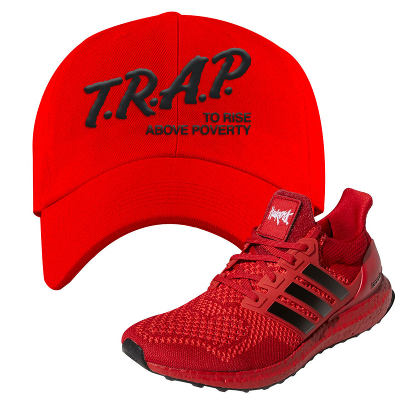 Ultra Boost 1.0 Nebraska Dad Hat | Trap To Rise Above Poverty, Red