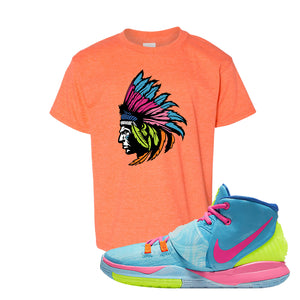 Kyrie 6 Pool Kids T-Shirt | Indian Chief, Heather Orange