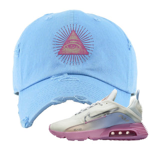 Air Max 2090 Airplane Travel Distressed Dad Hat | All Seeing Eye, Light Blue