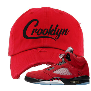 Air Jordan 5 Raging Bull Distressed Dad Hat | Crooklyn, Red