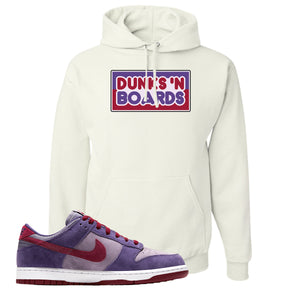 Dunk Low Plum Sneaker White Pullover Hoodie | Hoodie to match Nike Dunk Low Plum Shoes | Dunks 'N Boards