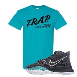 Kyrie 7 Pre Heat T-Shirt | Trap To Rise Above Poverty, Tropical Blue