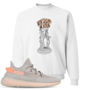 Yeezy Boost 350 True Form V2 Sneaker Hook Up The World Is Yours White Crewneck Sweater