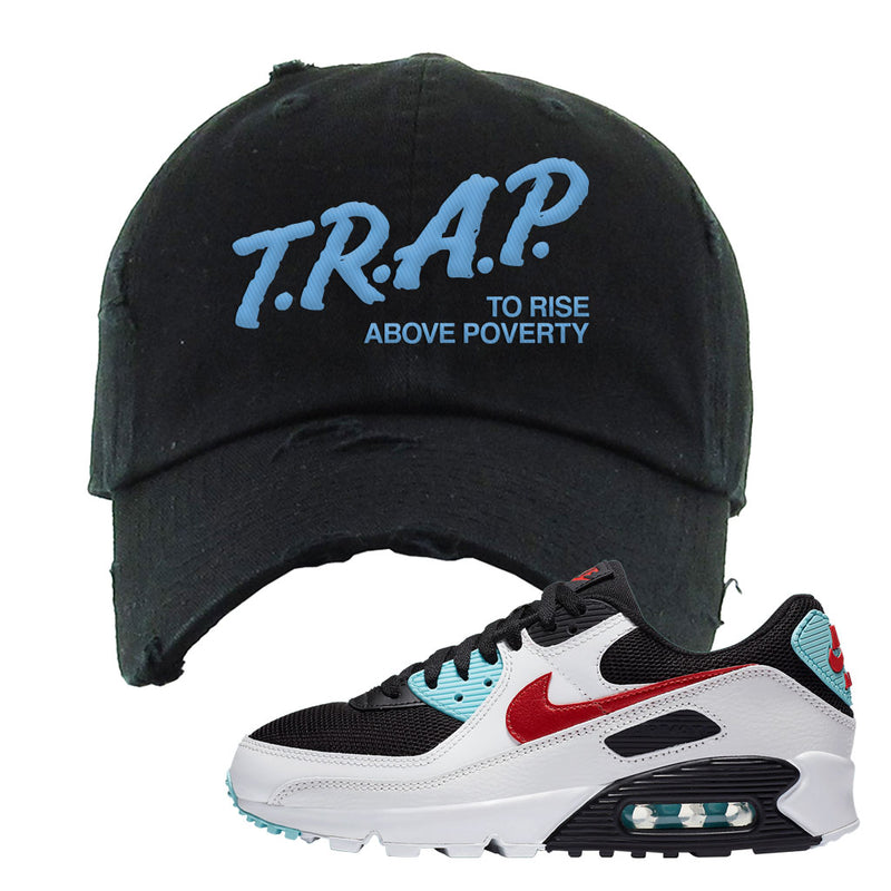Air Max 90 Bleached Aqua and Chile Red Distressed Dad Hat | Black, Trap To Rise Above Poverty