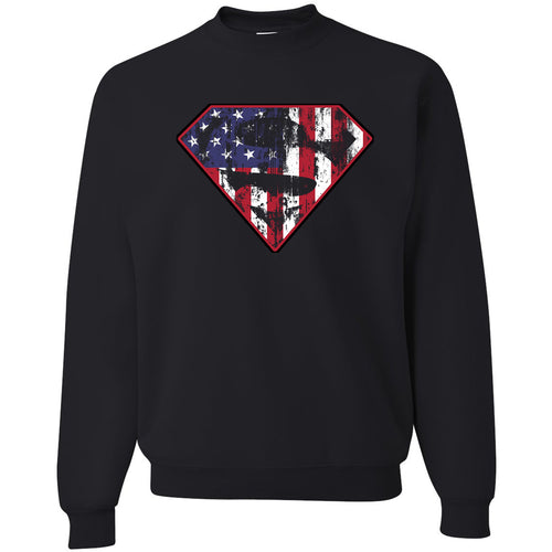 Standard Issue Diamond S Logo American Flag Distressed Black Grunt Life Crewneck Sweater