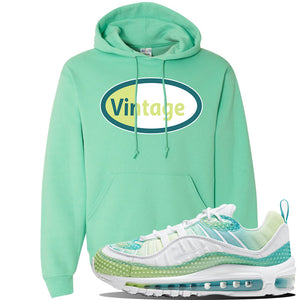 WMNS Air Max 98 Bubble Pack Sneaker Cool Mint Pullover Hoodie | Hoodie to match Nike WMNS Air Max 98 Bubble Pack Shoes | Vintage Oval