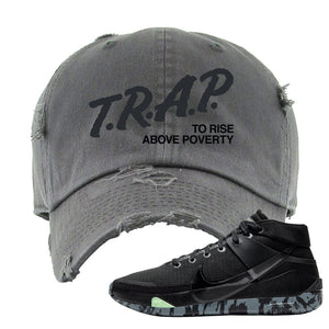 Nike KD 13 Black And Dark Grey Distressed Dad Hat | Trap To Rise Above Poverty, Dark Gray