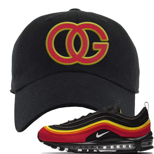 Air Max 97 Black/Chile Red/Magma Orange/White Sneaker Black Dad Hat | Hat to match Nike Air Max 97 Black/Chile Red/Magma Orange/White Shoes | OG