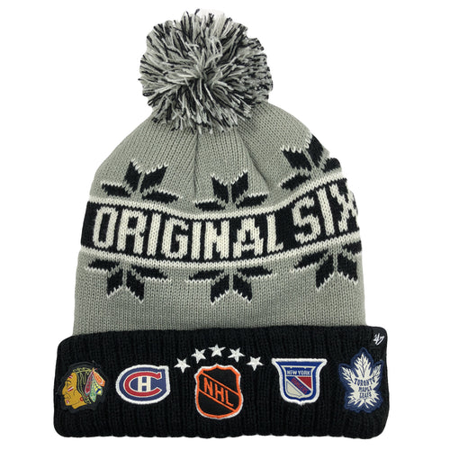 1d69fa1f44acdc on the front of the original six winter knit beanie, the nhl shield is  embroidered
