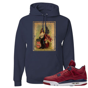Jordan 4 FIBA Lady Liberty Shield Navy Blue Sneaker Matching Pullover Hoodie