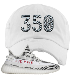 Yeezy Boost 350 V2 Zebra 350 White Sneaker Hook Up Distressed Dad Hat