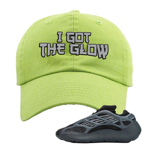 Yeezy Boost 700 V3 Alvah Sneaker Neon Green Dad Hat | Hat match Adidas Yeezy Boost 700 V3 Alvah Shoes | I Got The Glow
