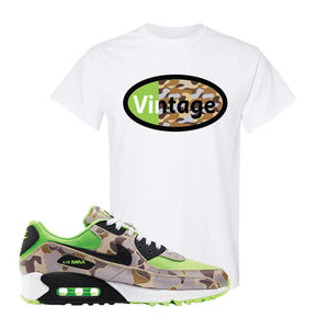 Air Max 90 Duck Camo Ghost Green T Shirt | White, Vintage Oval