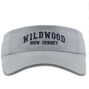 Wildwood, New Jersey Arched Lettering Light Gray Adjustable Visor