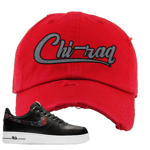 Air Force 1 Low Black Floral Distressed Dad Hat | Chiraq, Red