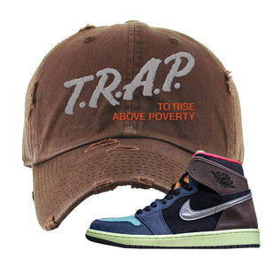 Air Jordan 1 Retro High OG 'Bio Hack' Distressed Dad Hat | Brown, Trap To Rise Above Poverty