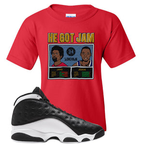 Jordan 13 Reverse He Got Game Kid's T-Shirt | Red, He Got Jam Father And Son