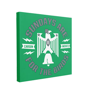 Sundays are for the Birds Canvas | Sundays are for the Birds Kelly Green Wall Canvas the front of this canvas has the sundays are for the birds logo