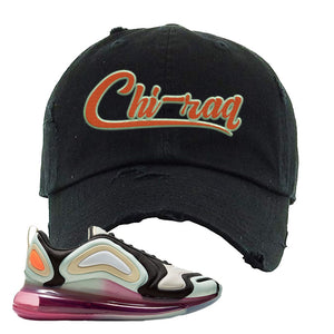 Air Max 720 WMNS Black Fossil Sneaker Black Distressed Dad Hat | Hat to match Nike Air Max 720 WMNS Black Fossil Shoes | Chiraq