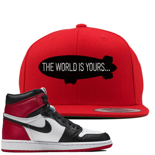 Air Jordan 1 WMNS Satin Black Toe Sneaker Match World is Yours Blimp Red Snapback