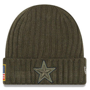 on the front of the dallas cowboys kids sized salute to service winter beanie is the green dallas cowboys logo