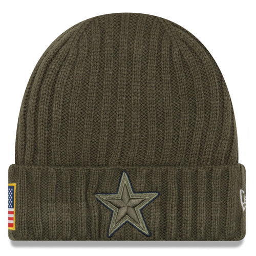 on the front of the salute to service dallas cowboys winter beanie, there is a dallas cowboy star embroidered in green