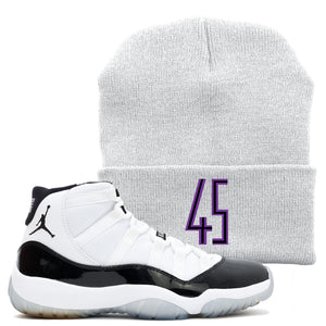 The Jordan 11 Concord 45 sneaker matching winter beanie is a great item to match your Jordan 11 45 sneakers with