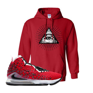 Lebron 17 Uptempo Hoodie | Red, All Seeing Eye