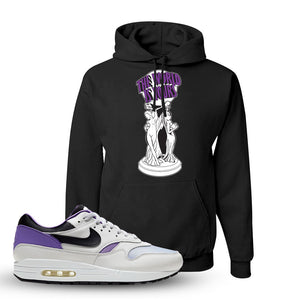 Air Max 1 DNA Series Sneaker Black Pullover Hoodie | Hoodie to match Nike Air Max 1 DNA Series Shoes | The World Is Yours Statue