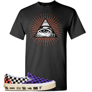 Vans Slip On Venice Beach Pack T Shirt | Black, All Seeing Eye