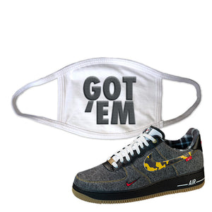 Air Force 1 Low Plaid And Camo Remix Pack Face Mask | Got Em, White