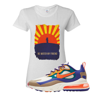 Air Max 270 React ACG Women's T-Shirt | White, Be Water My Friend Samurai