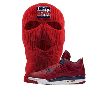 Jordan 4 FIBA Dream Team Red Sneaker Matching Ski Mask