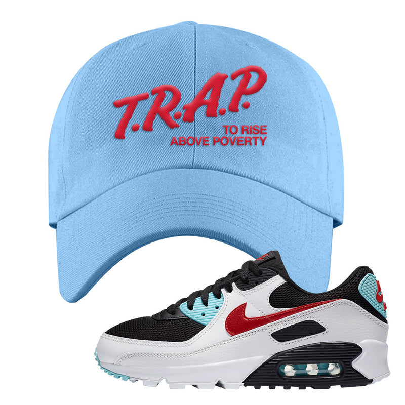 Air Max 90 Bleached Aqua and Chile Red Dad Hat | Light Blue, Trap To Rise Above Poverty