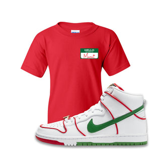 Paul Rodriguez's Nike SB Dunk High Sneaker Red Kid's T Shirt | Kid's Tees to match Paul Rodriguez's Nike SB Dunk High Shoes | Hello My Name Is Mami