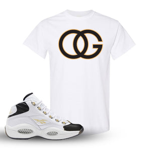 Question Mid Black Toe Sneaker White T Shirt | Tees to match Reebok Question Mid Black Toe Shoes | OG