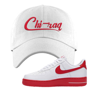 Air Force 1 Low Red Bottoms Dad Hat | White, Chiraq