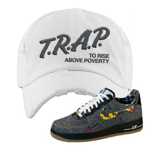 Air Force 1 Low Plaid And Camo Remix Pack Distressed Dad Hat | Trap To Rise Above Poverty, White
