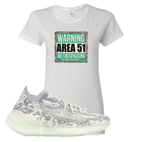 Yeezy Boost 380 Alien Area 51 Sign White Sneaker Matching Women's T-Shirt