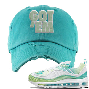 WMNS Air Max 98 Bubble Pack Sneaker Turquoise Distressed Dad Hat | Hat to match Nike WMNS Air Max 98 Bubble Pack Shoes | Got Em