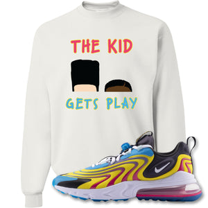 The Kid Gets Play White Crewneck Sweatshirt to match Air Max 270 React ENG Laser Blue Sneakers