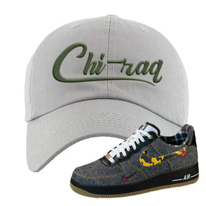 Air Force 1 Low Plaid And Camo Remix Pack Dad Hat | Chiraq, Light Gray