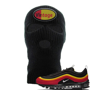 Air Max 97 Black/Chile Red/Magma Orange/White Sneaker Black Ski Mask | Winter Mask to match Nike Air Max 97 Black/Chile Red/Magma Orange/White Shoes | Vintage Oval